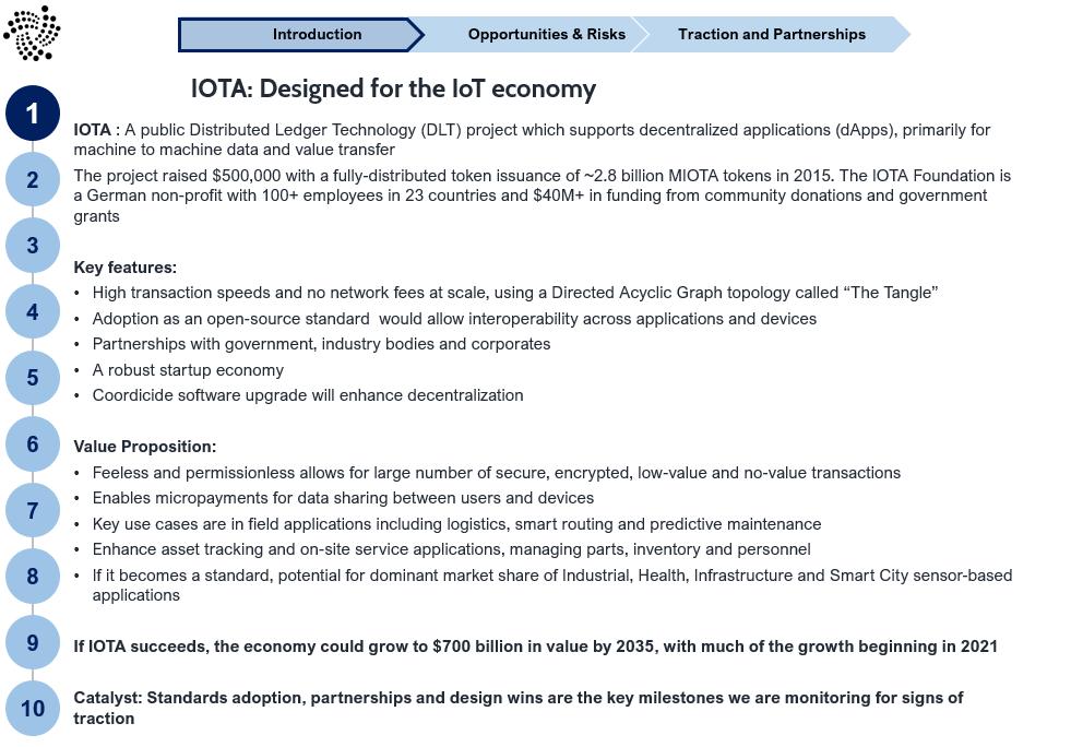 Slide 2 IOTA: Becoming an IoT standard could drive market adoption