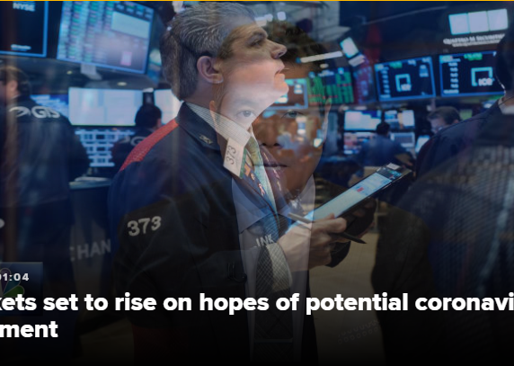 Stocks are set to rally on hope for an effective coronavirus treatment, Dow futures rise 700 points
